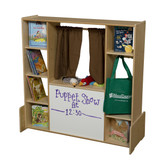 Puppet Theater, Play Store, Literacy Center with Side and Back Storage Shelves and Brown Curtains (WD990667FBN)