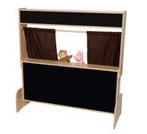 Deluxe Puppet Theater with Flannelboard - Brown Curtains (WD-21652BN)