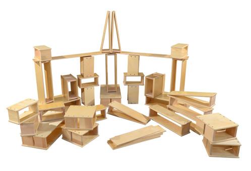 Wooden Hollow Block Set, 40 Pieces