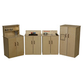 Classic Play Kitchen, Set of Four Appliances with Brown Sink and Knobs