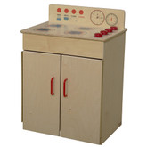 Classic Wooden Play Stove with Red Handles and Knobs