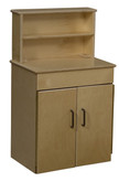 Classic Wooden Play Kitchen Deluxe Hutch with Brown Handles