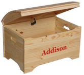 Little Colorado Treasure Chest Toy Box - Natural with Red Personalization