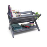 Lipper International Kid's Book Caddy With Shelf, Gray