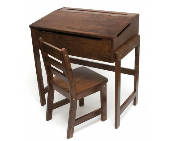Child S Slanted Top Desk Amp Chair Walnut Finish