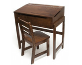 Lipper International Child's Slanted Top Desk & Chair, Walnut Finish
