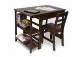 Lipper International Child's Work Station & Chair, Walnut Finish