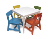 Lipper International Child's 5 Piece Square White Table and Multi Color Chair Set