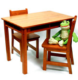 Lipper International Child's Rectangular Table with Shelves and 2 Chairs - Pecan