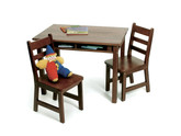 Lipper International Child's Rectangular Table with Shelves and 2 Chairs - Walnut