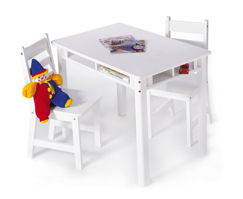 Child S Rectangular Table With Shelves And 2 Chairs