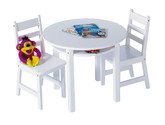 Lipper International Child's Round Table with Shelf and 2 Chairs - White