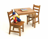 Lipper International Child's Square Table and Chairs 3-Piece Set - Pecan Finish