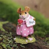 Wee Forest Folk Miniature M-693g - Sending Love & Hope for Breast Cancer Awareness