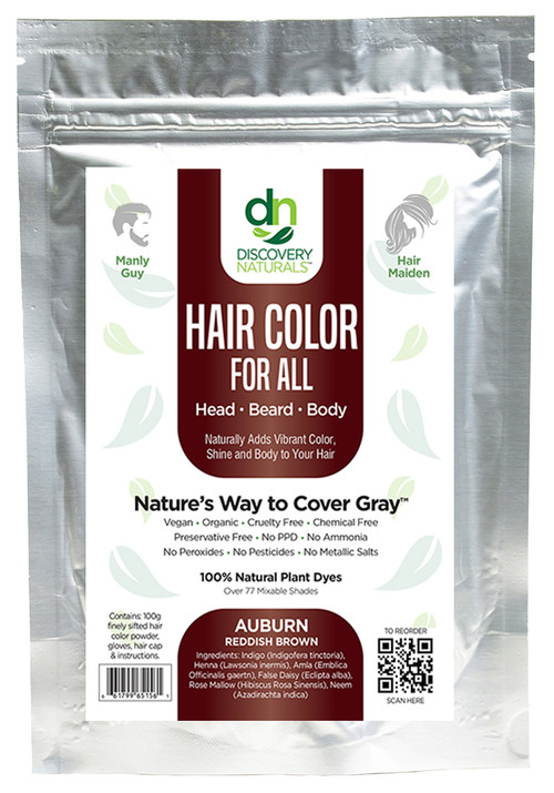 Image of front of auburn reddish brown henna package