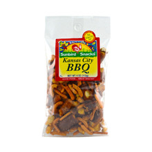 Bar-B-Que Corn Stcks, Corn Nuggets, Barbeque Pretzel Pieces, Roasted and Honey Roasted Peanuts.