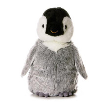 Penny the penguin has a black and white head with a yellow tinted beak. Her body and wings boast long silky fur for you to pet and play with.