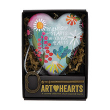 This Art Heart makes a beautiful gift for a dear friend! Art Hearts™ is a curated collection of heart sculptures that offer artistic ways to express love. Hang from the tasseled cord or stand using the decorative key which also functions as a stand. Packaged in a window gift box and ready to gift!  •	Measures 4 inches by 3.5 inches •	Packaged in a gift-ready window box •	Hangs from tasseled cord or stands by inserting the decorative key into back keyhole •	Tasseled cord and decorative key included •	Message on heart reads Friendship starts in loving hearts