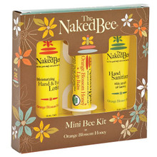 The Mini Bee Kit by The Naked Bee® includes hand and body lotion, lip balm, and hand sanitizer. Packaged in a convenient gift box, it makes the perfect grab n' go gift for someone special.  Each set includes a tube of moisturizing hand and body lotion (0.5oz), a standard size lip balm (0.15oz), and a tube of hand sanitizer (0.5oz) USDA organic lip balm Orange blossom honey scent is tangy and citrusy with a hint of sweet honey