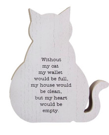 This chunky wooden dog-shaped sign makes a thoughtful gift for dog lovers of all ages! Sign features a worn white background with black lettering for a rustic, shabby chic look.  Each sign has a heartwarming message about the special bond between man's best friend and owner.  Assortment varies