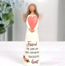 "Friends should be cherished and celebrated. This charming angel figurine makes a meaningful gift for a dear friend on a birthday, special occasion, holiday, or ""just because"". Message printed on dress reads ""Friend - The love you have shown has touched my heart""."
