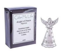 """This beautiful Color My Life Angels - Angel of Peace Figurine is made of zinc and measures approximately 3 5/8"""" tall."""