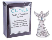 """This beautiful Color My Life Angels - Angel of Serenity Figurine is made of zinc and measures approximately 3 5/8"""" tall."""