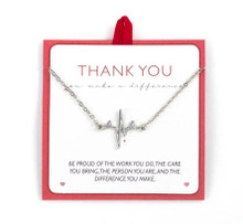 Thank you heartbeat pendant necklace.