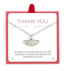 Thank you mask pendant necklace.