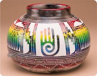 Navajo Horse Hair Color Band Pottery