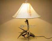 "Genuine white tail deer antler lamp. 25"""