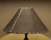 "Western Leather Lamp Shade - 20"" Brown Pig Skin"