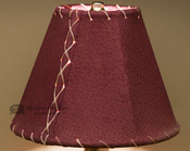 "Western Leather Lamp Shade - 8"" Burgundy Pig Skin"