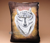 Western Cowhide Pillow - Wolf