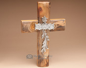 "Rustic Southwest Wooden Wall Cross 14"" -Believe (c36)"