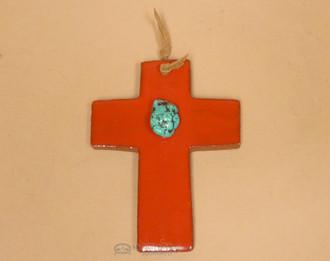 Saltillo Tile Ceramic Cross -Red