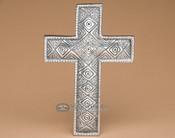 "Southwestern Solid Pewter Wall Cross 7"" -Diamonds (c8)"