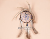 Native American Dream Catcher with Antler Wall Art - Blue Webbing