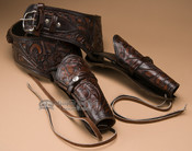 "Western Tooled Leather Double Holster Rig 40"" (gb19)"