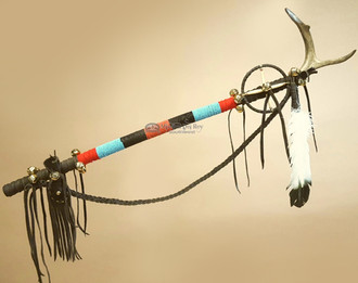 Native American Tigua Indian Antler Top Dance Stick Medicine Staff