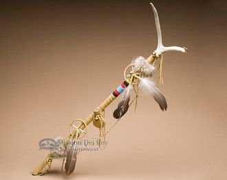 "Native American Antler Top Medicine Stick 33"""