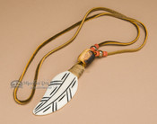 Native American Bone Necklace -Orange