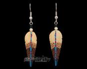 Navajo Hand Painted Bone Feather Earrings
