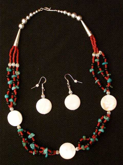 Native American Navajo Jewelry Necklace Earring Set 20 175