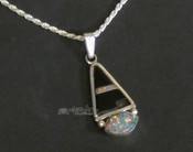 "Native American Silver Pendant Necklace 20"" Opal -Navajo"