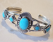 Native American Silver & Turquoise Cuff Bracelet -Navajo