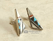 Zuni Native American Silver Inlaid Earrings