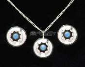 Navajo Silver Necklace Pendant & Earrings 20""