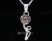 "Native American Silver Pendant Necklace 20"" -Rose"