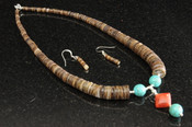 Native American Jewelry -Necklace & Earring Set 16""